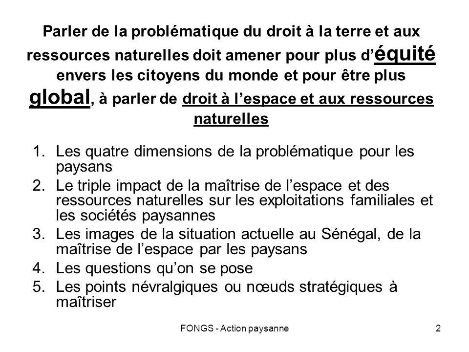FONGS - Action paysanne2 Parler de la problématique du droit à la terre et aux ressources naturelles doit amener pour plus d équité envers les citoyen