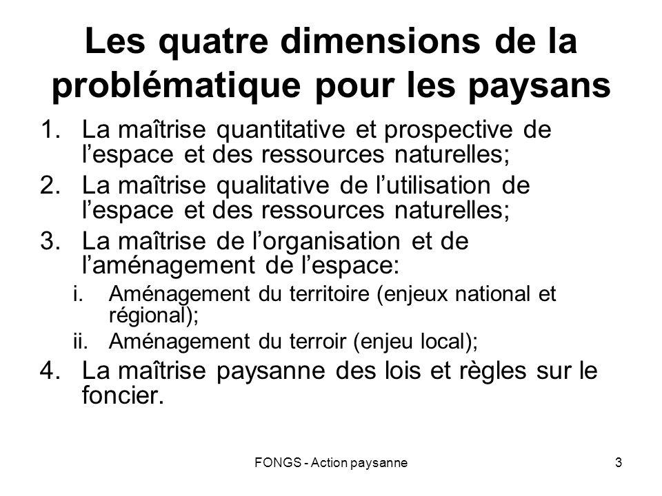 FONGS - Action paysanne3 Les quatre dimensions de la problématique pour les paysans 1.La maîtrise quantitative et prospective de lespace et des ressou