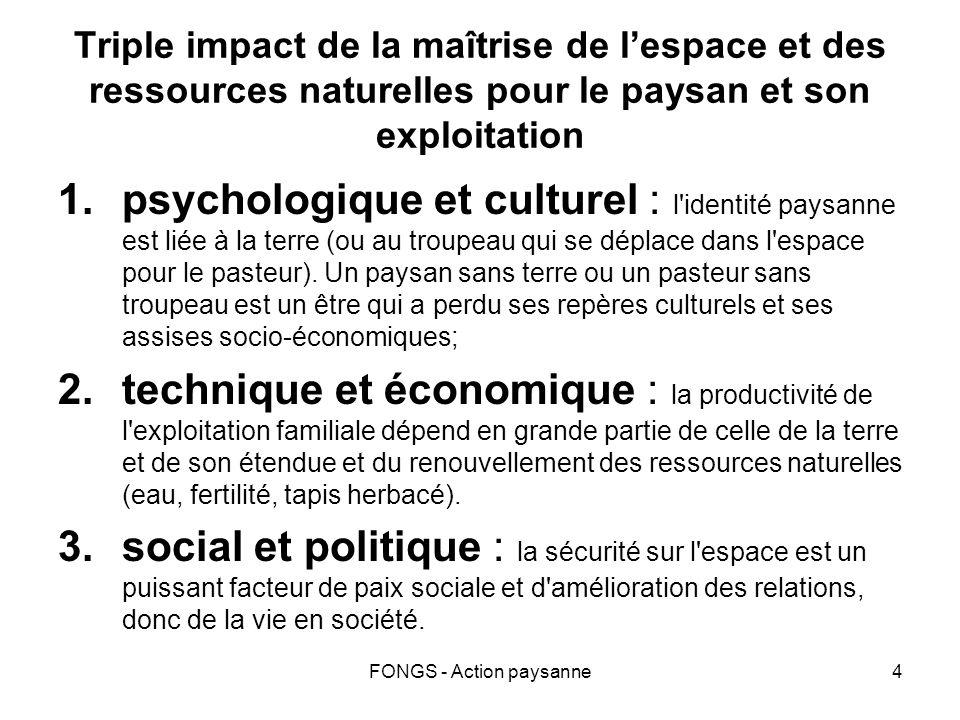 FONGS - Action paysanne4 Triple impact de la maîtrise de lespace et des ressources naturelles pour le paysan et son exploitation 1.psychologique et cu