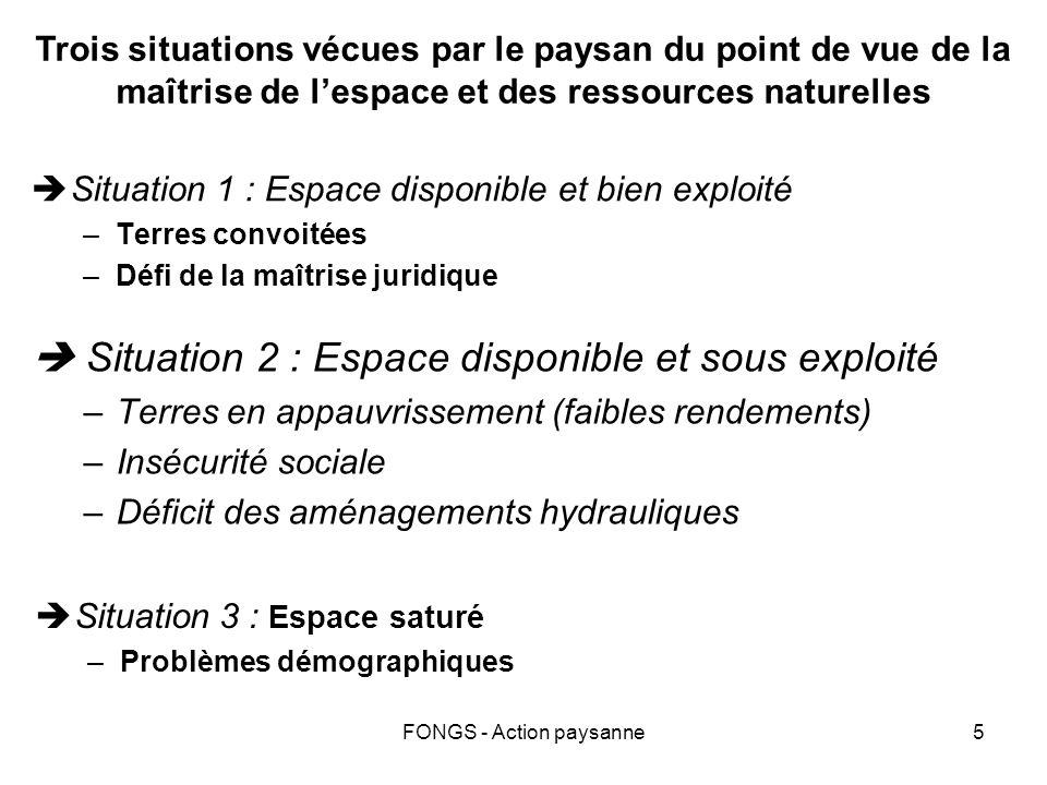 FONGS - Action paysanne5 Situation 2 : Espace disponible et sous exploité –Terres en appauvrissement (faibles rendements) –Insécurité sociale –Déficit