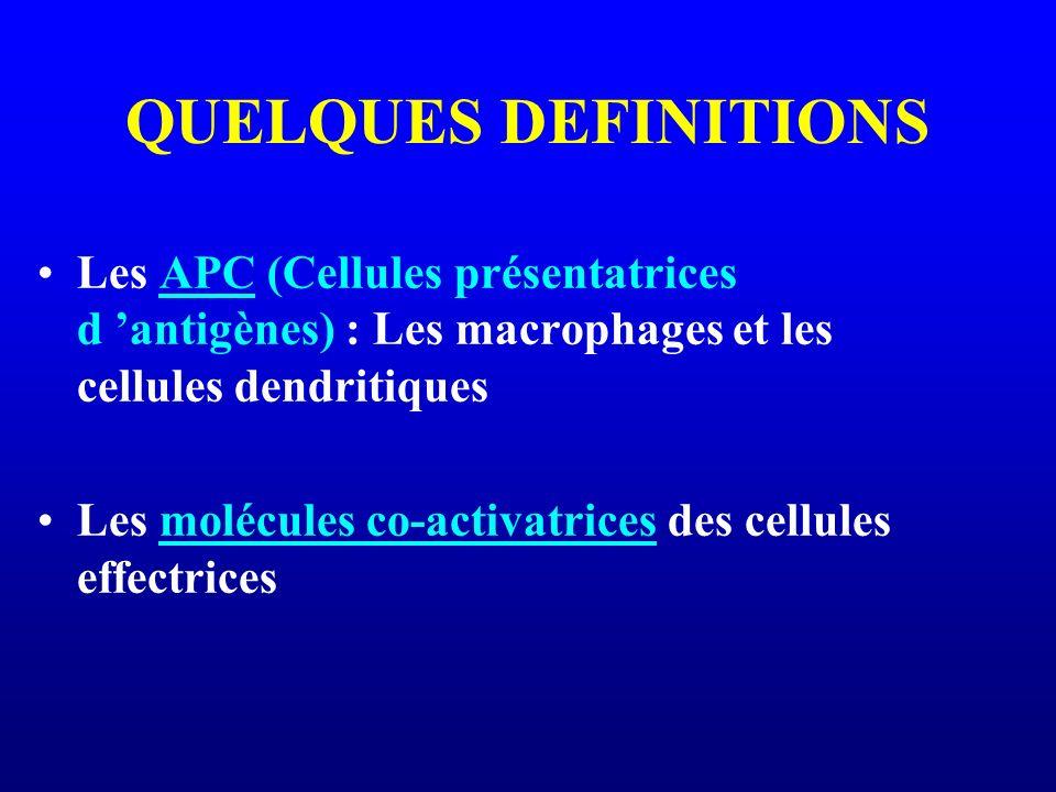 QUELQUES DEFINITIONS Les APC (Cellules présentatrices d antigènes) : Les macrophages et les cellules dendritiques Les molécules co-activatrices des ce