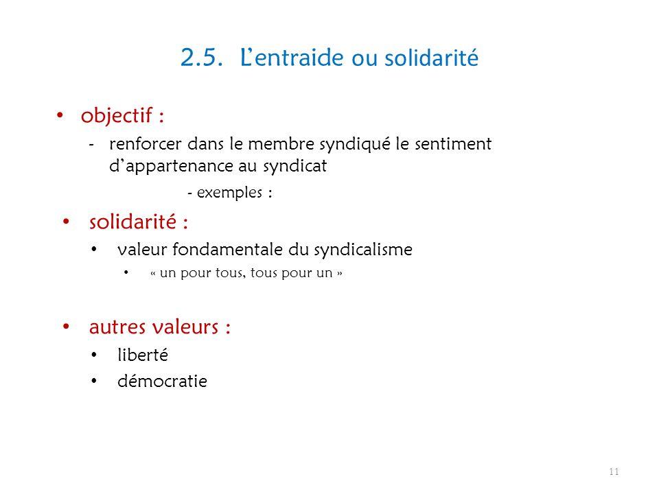 2.5. Lentraide ou solidarité objectif : -renforcer dans le membre syndiqué le sentiment dappartenance au syndicat - exemples : solidarité : valeur fon