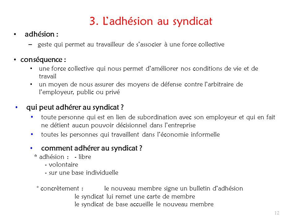 3. Ladhésion au syndicat adhésion : – geste qui permet au travailleur de sassocier à une force collective 12 conséquence : une force collective qui no