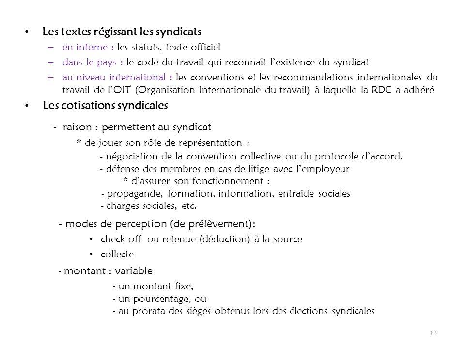 Les textes régissant les syndicats – en interne : les statuts, texte officiel – dans le pays : le code du travail qui reconnaît lexistence du syndicat