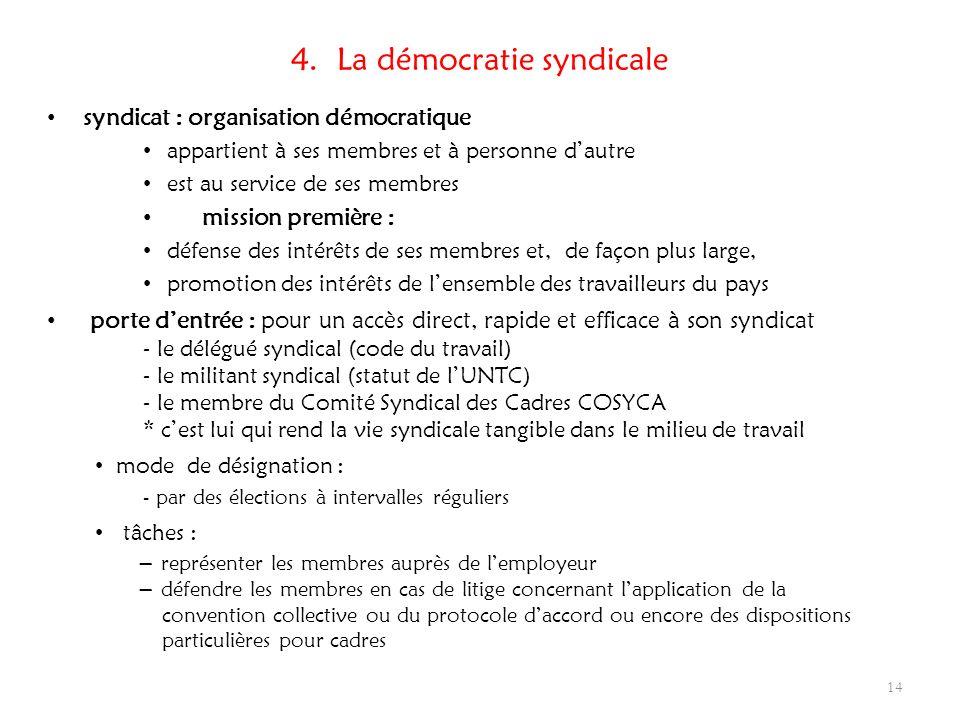 4. La démocratie syndicale syndicat : organisation démocratique appartient à ses membres et à personne dautre est au service de ses membres mission pr