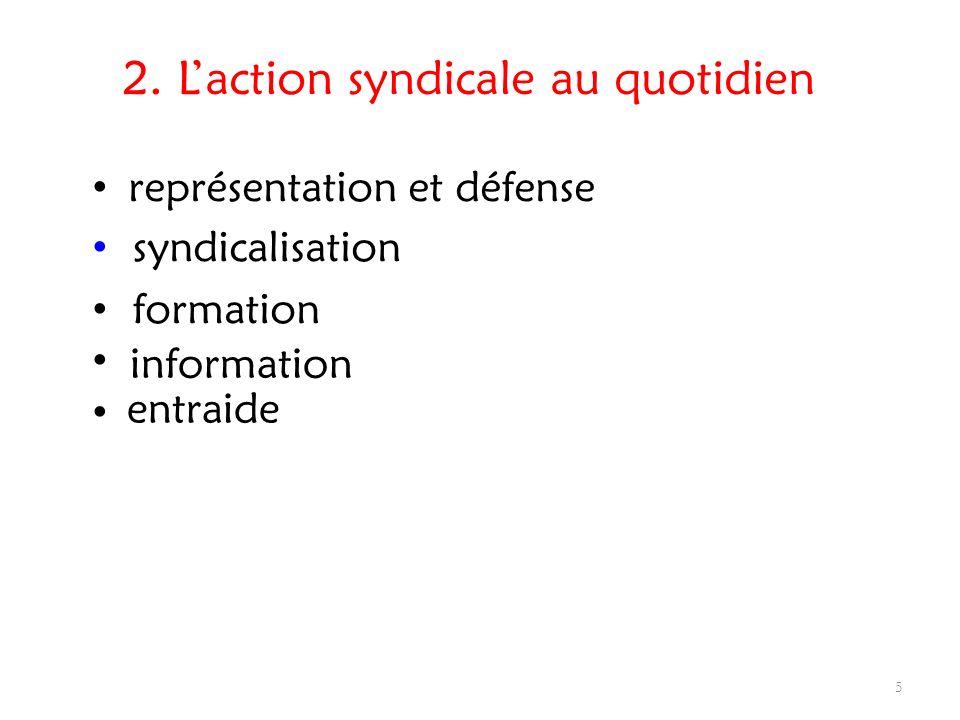 2. Laction syndicale au quotidien représentation et défense 5 syndicalisation formation information entraide