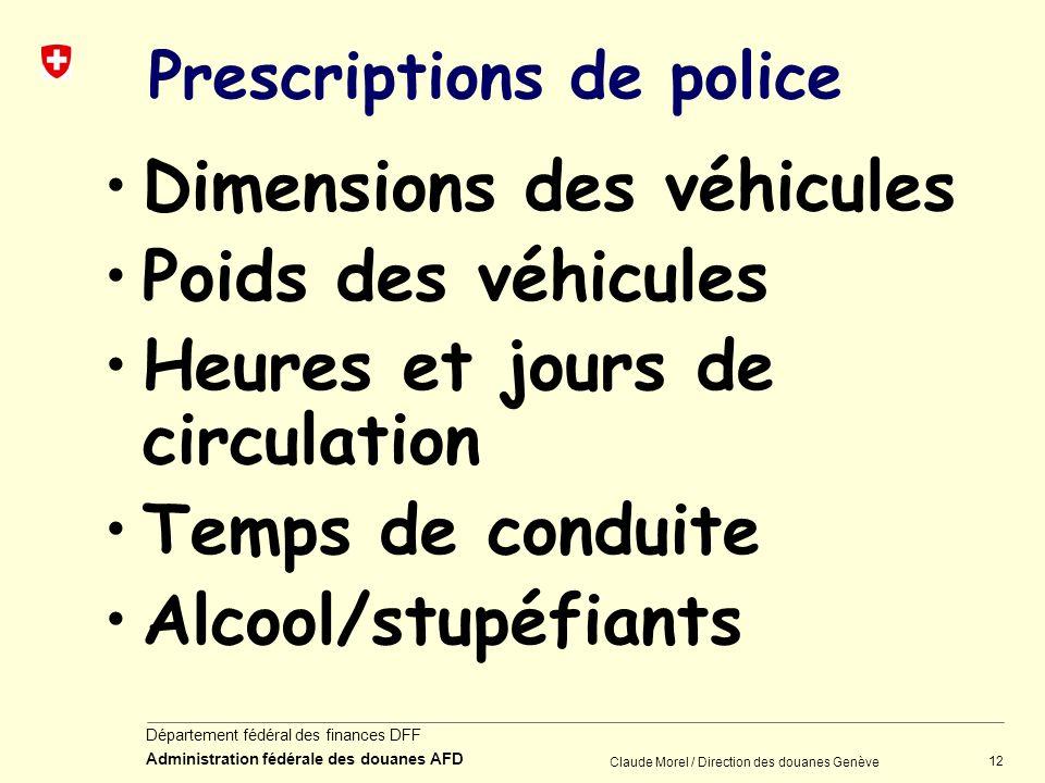 12 Département fédéral des finances DFF Administration fédérale des douanes AFD Claude Morel / Direction des douanes Genève Prescriptions de police Di