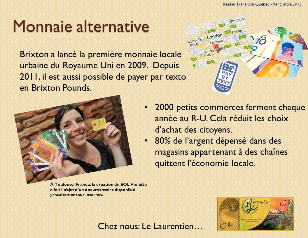Monnaie alternative À Toulouse, France, la création du SOL Violette a fait lobjet dun documentaire disponible gratuitement sur internet.