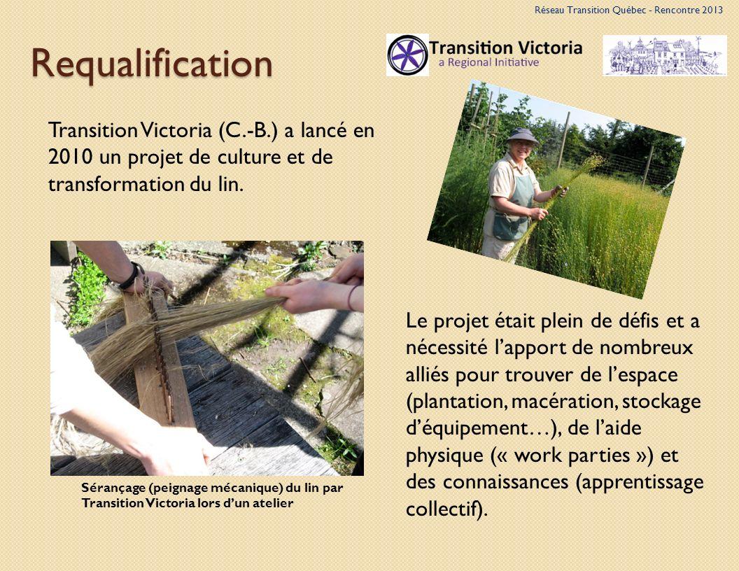 Requalification Sérançage (peignage mécanique) du lin par Transition Victoria lors dun atelier Transition Victoria (C.-B.) a lancé en 2010 un projet de culture et de transformation du lin.