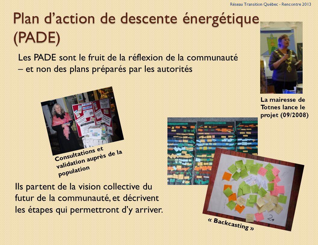 Plan daction de descente énergétique (PADE) Les PADE sont le fruit de la réflexion de la communauté – et non des plans préparés par les autorités Ils partent de la vision collective du futur de la communauté, et décrivent les étapes qui permettront dy arriver.