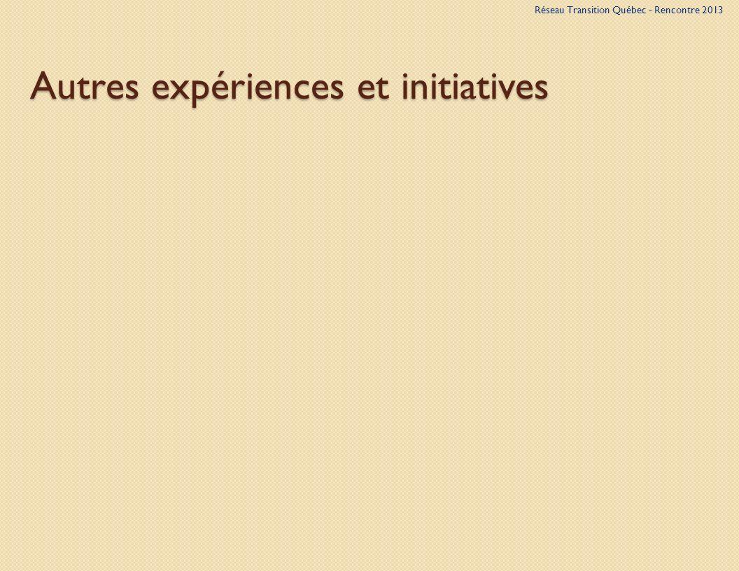 Autres expériences et initiatives Réseau Transition Québec - Rencontre 2013