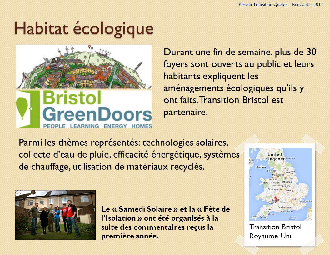 Habitat écologique Transition Bristol Royaume-Uni Parmi les thèmes représentés: technologies solaires, collecte deau de pluie, efficacité énergétique, systèmes de chauffage, utilisation de matériaux recyclés.