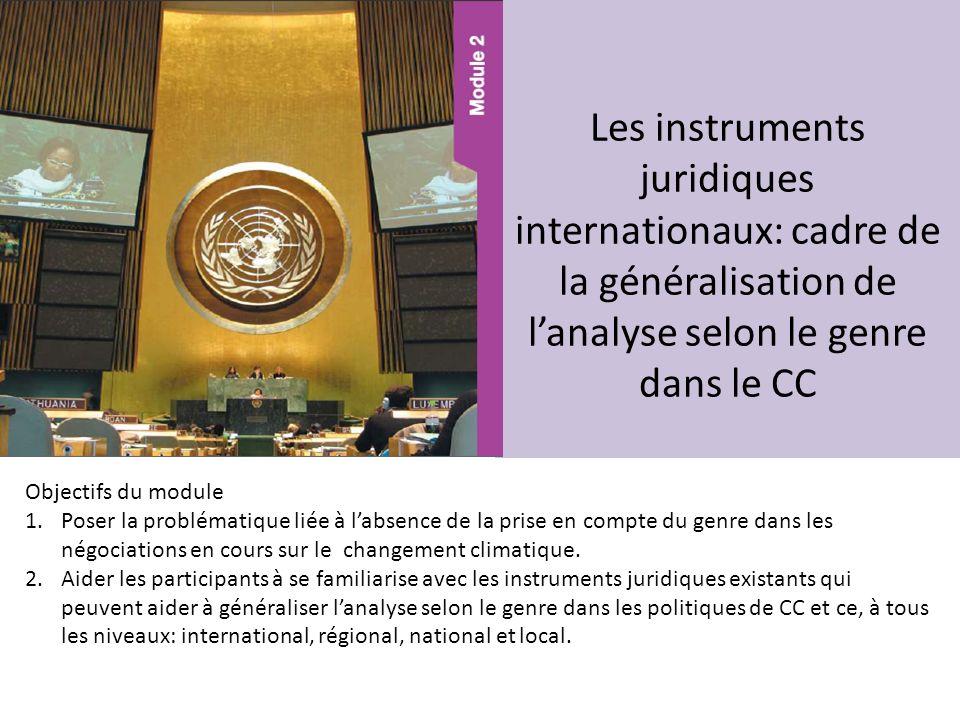 Les instruments juridiques internationaux: cadre de la généralisation de lanalyse selon le genre dans le CC Objectifs du module 1.Poser la problématiq