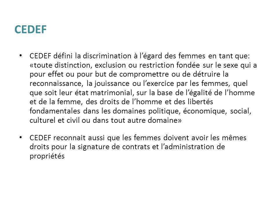 CEDEF défini la discrimination à légard des femmes en tant que: «toute distinction, exclusion ou restriction fondée sur le sexe qui a pour effet ou po