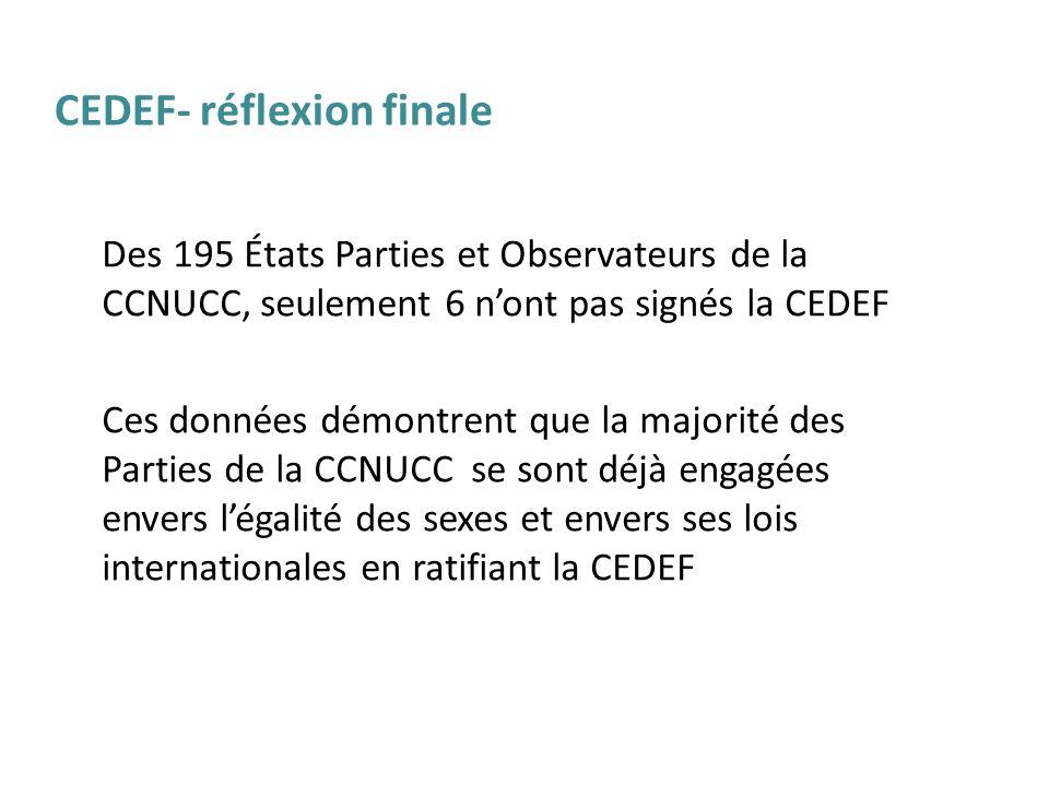 Des 195 États Parties et Observateurs de la CCNUCC, seulement 6 nont pas signés la CEDEF Ces données démontrent que la majorité des Parties de la CCNU