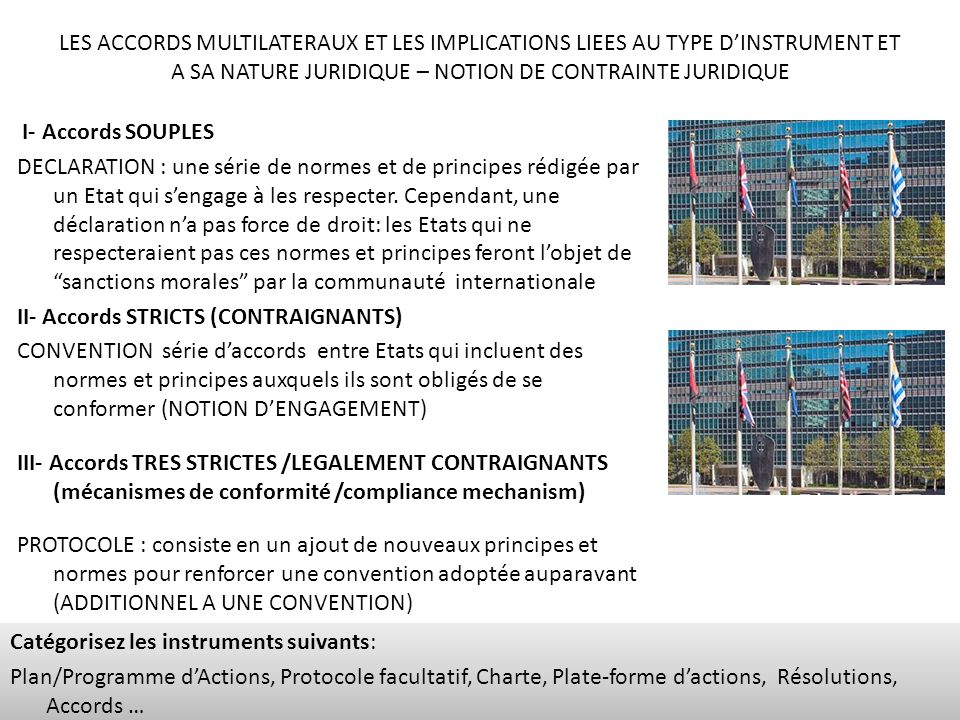 LES ACCORDS MULTILATERAUX ET LES IMPLICATIONS LIEES AU TYPE DINSTRUMENT ET A SA NATURE JURIDIQUE – NOTION DE CONTRAINTE JURIDIQUE I- Accords SOUPLES D