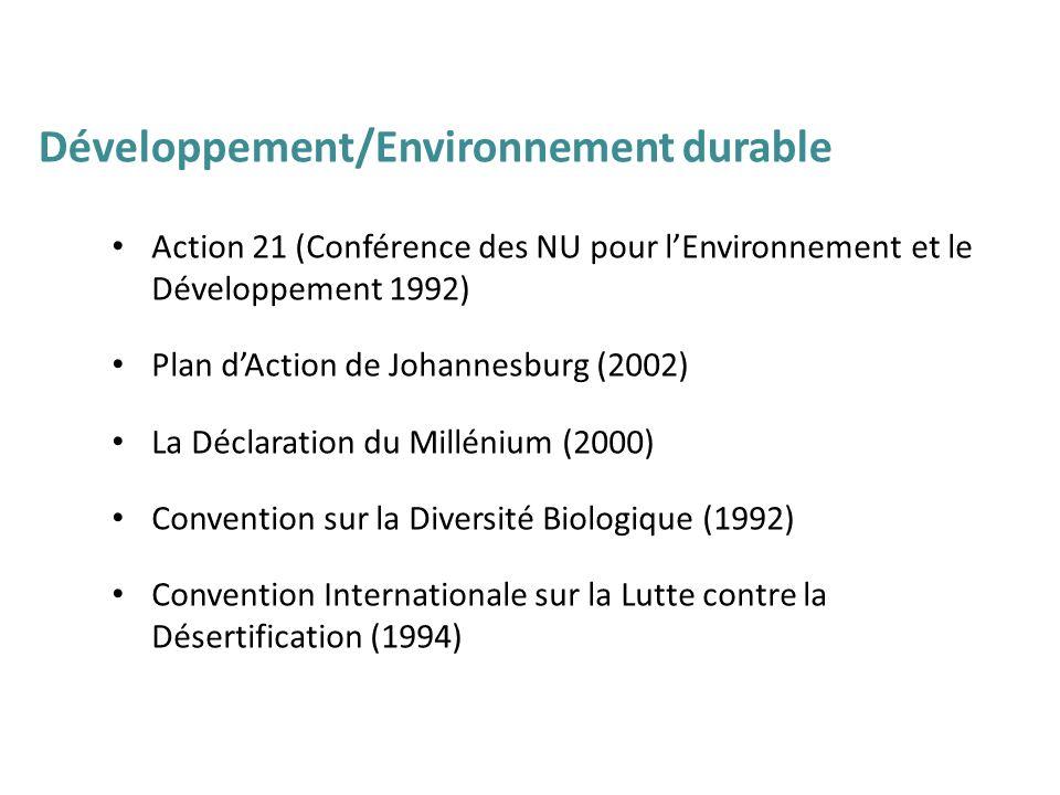Action 21 (Conférence des NU pour lEnvironnement et le Développement 1992) Plan dAction de Johannesburg (2002) La Déclaration du Millénium (2000) Conv