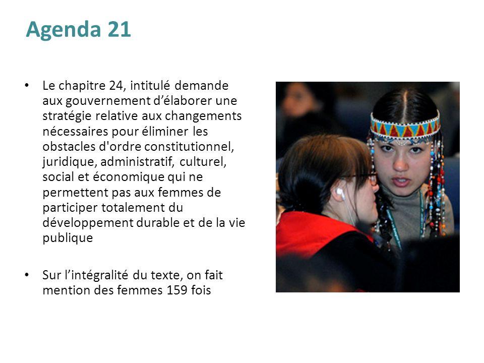 Le chapitre 24, intitulé demande aux gouvernement délaborer une stratégie relative aux changements nécessaires pour éliminer les obstacles d'ordre con