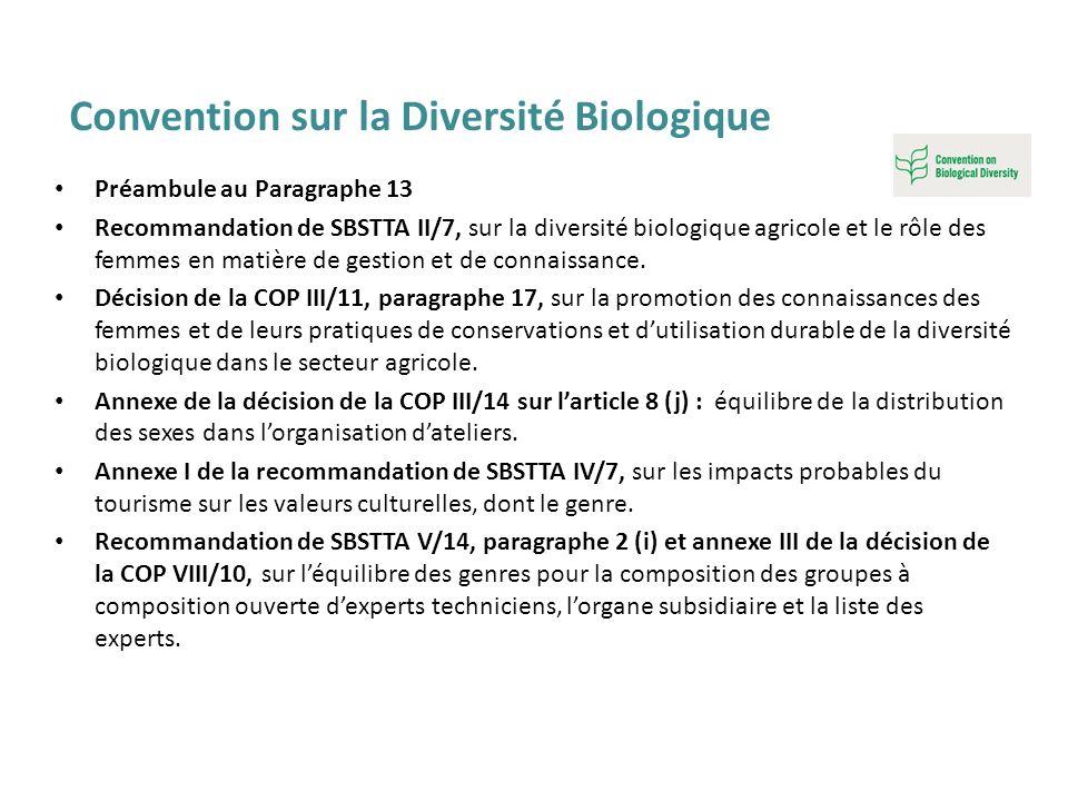 Préambule au Paragraphe 13 Recommandation de SBSTTA II/7, sur la diversité biologique agricole et le rôle des femmes en matière de gestion et de conna