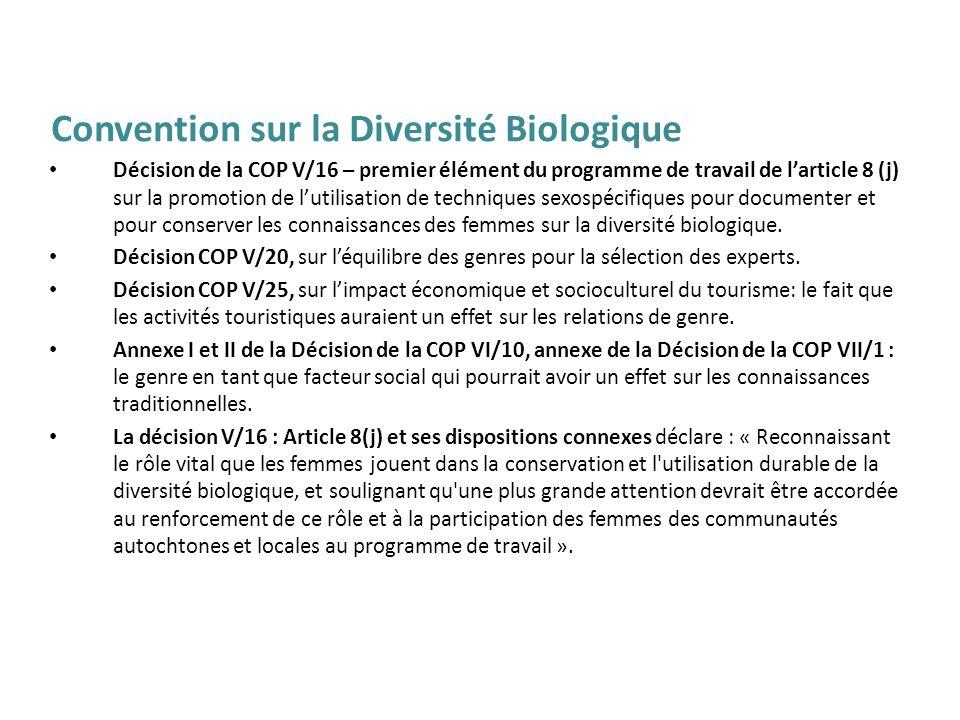 Décision de la COP V/16 – premier élément du programme de travail de larticle 8 (j) sur la promotion de lutilisation de techniques sexospécifiques pou