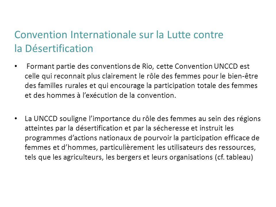 Formant partie des conventions de Rio, cette Convention UNCCD est celle qui reconnait plus clairement le rôle des femmes pour le bien-être des famille