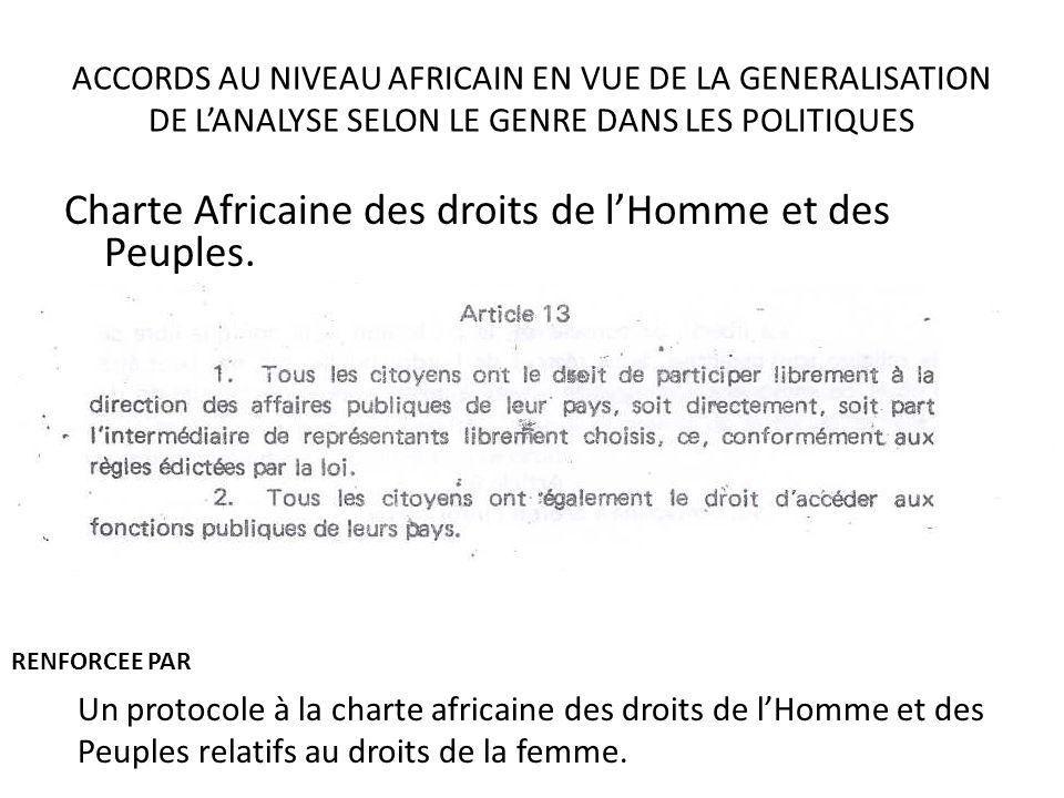 ACCORDS AU NIVEAU AFRICAIN EN VUE DE LA GENERALISATION DE LANALYSE SELON LE GENRE DANS LES POLITIQUES Charte Africaine des droits de lHomme et des Peu