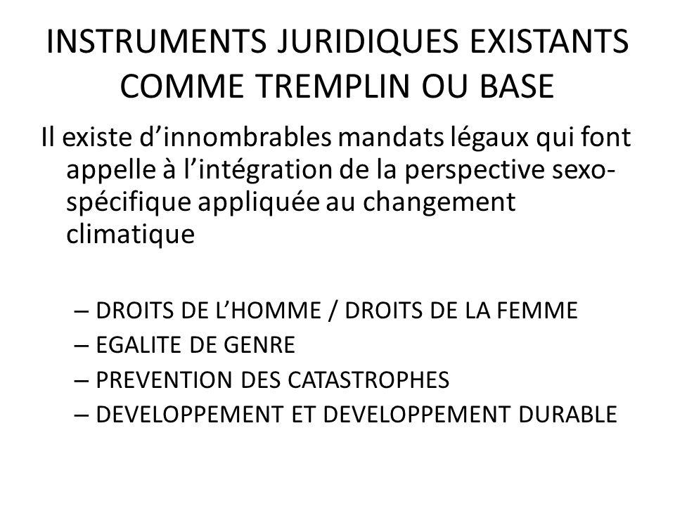 INSTRUMENTS JURIDIQUES EXISTANTS COMME TREMPLIN OU BASE Il existe dinnombrables mandats légaux qui font appelle à lintégration de la perspective sexo-