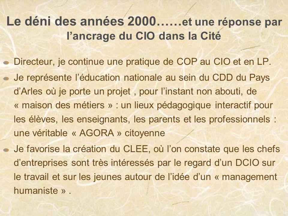 Le déni des années 2000…… et une réponse par lancrage du CIO dans la Cité Directeur, je continue une pratique de COP au CIO et en LP.