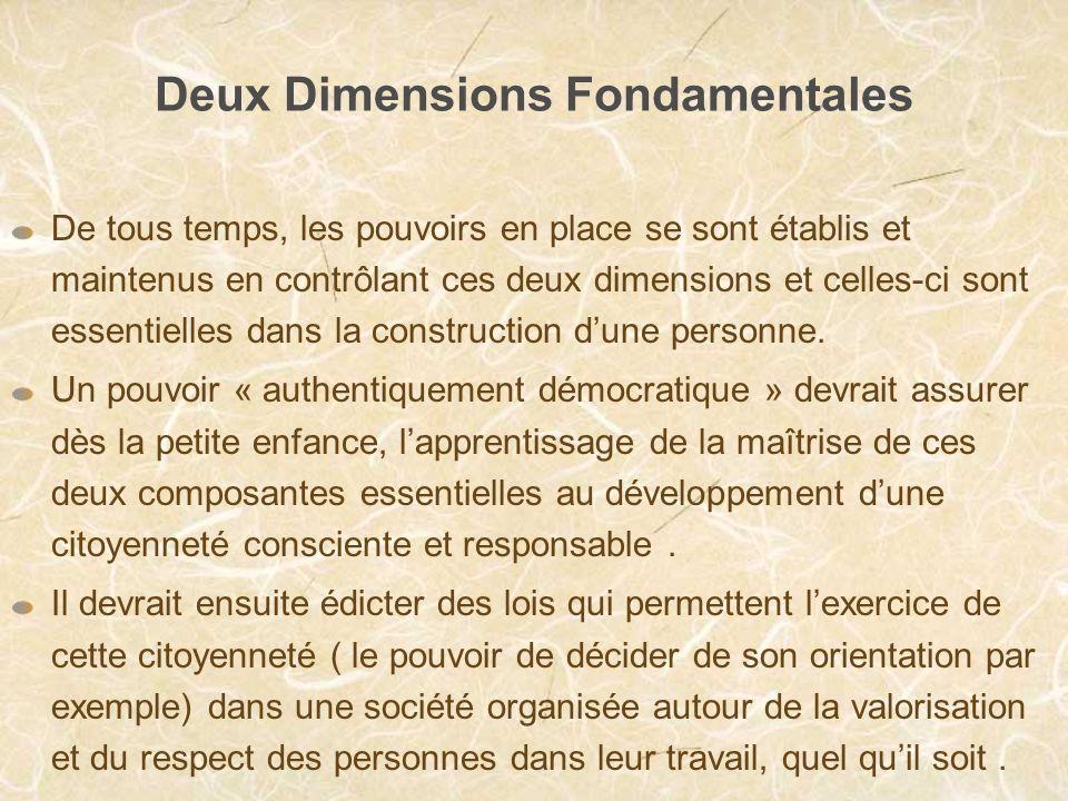 Deux Dimensions Fondamentales De tous temps, les pouvoirs en place se sont établis et maintenus en contrôlant ces deux dimensions et celles-ci sont essentielles dans la construction dune personne.