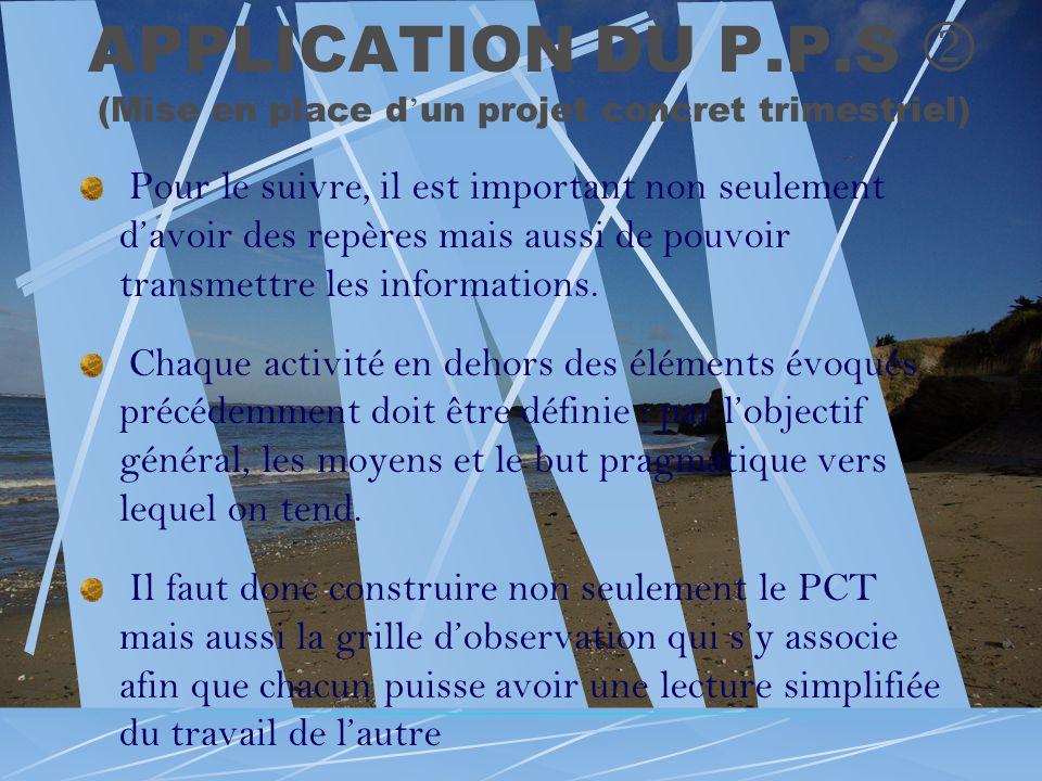 APPLICATION DU P.P.S (Mise en place d un projet concret trimestriel) Pour le suivre, il est important non seulement davoir des repères mais aussi de p