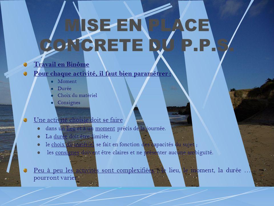 MISE EN PLACE CONCRETE DU P.P.S. Travail en Binôme Pour chaque activité, il faut bien paramétrer : Moment Durée Choix du matériel Consignes Une activi