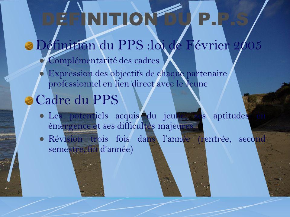 DEFINITION DU P.P.S Définition du PPS :loi de Février 2005 Complémentarité des cadres Expression des objectifs de chaque partenaire professionnel en l