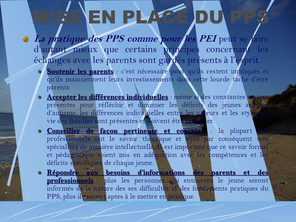 MISE EN PLACE DU PPS La pratique des PPS comme pour les PEI peut se faire dautant mieux que certains principes concernant les échanges avec les parent