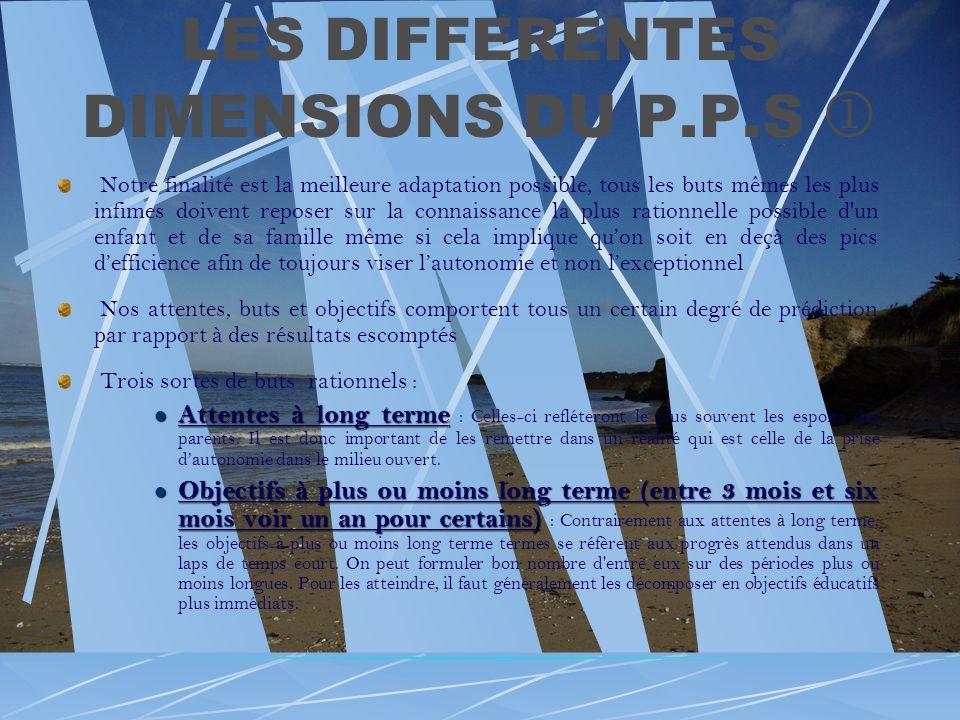 LES DIFFERENTES DIMENSIONS DU P.P.S Notre finalité est la meilleure adaptation possible, tous les buts mêmes les plus infimes doivent reposer sur la c