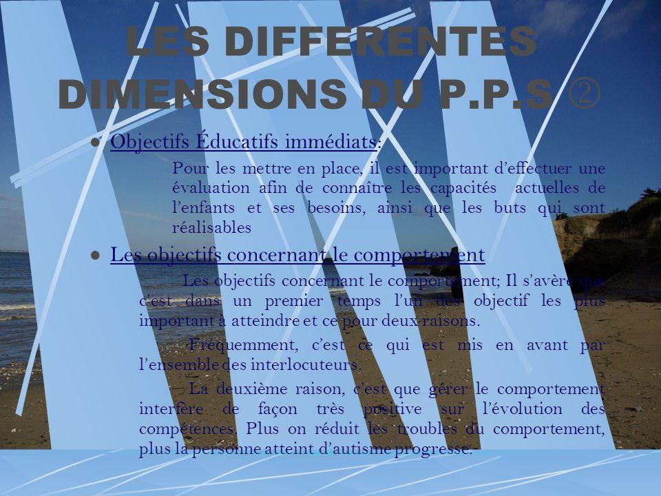 LES DIFFERENTES DIMENSIONS DU P.P.S Objectifs Éducatifs immédiats: Pour les mettre en place, il est important deffectuer une évaluation afin de connaî