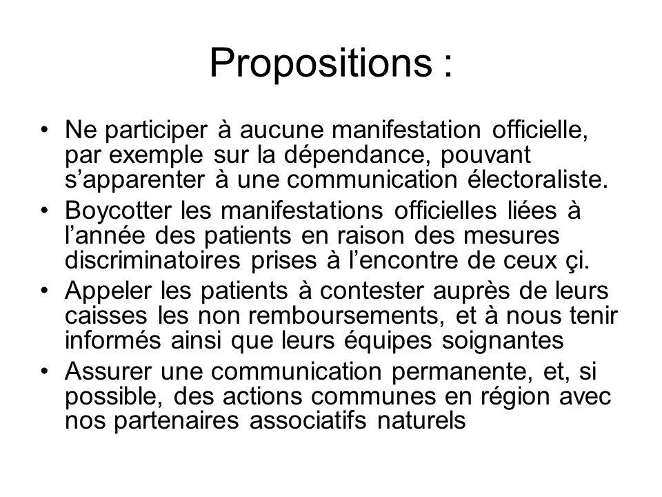 Propositions : Ne participer à aucune manifestation officielle, par exemple sur la dépendance, pouvant sapparenter à une communication électoraliste.
