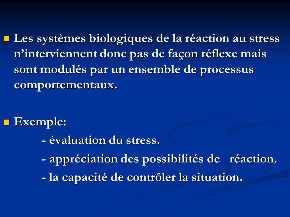 Les systèmes biologiques de la réaction au stress ninterviennent donc pas de façon réflexe mais sont modulés par un ensemble de processus comportementaux.