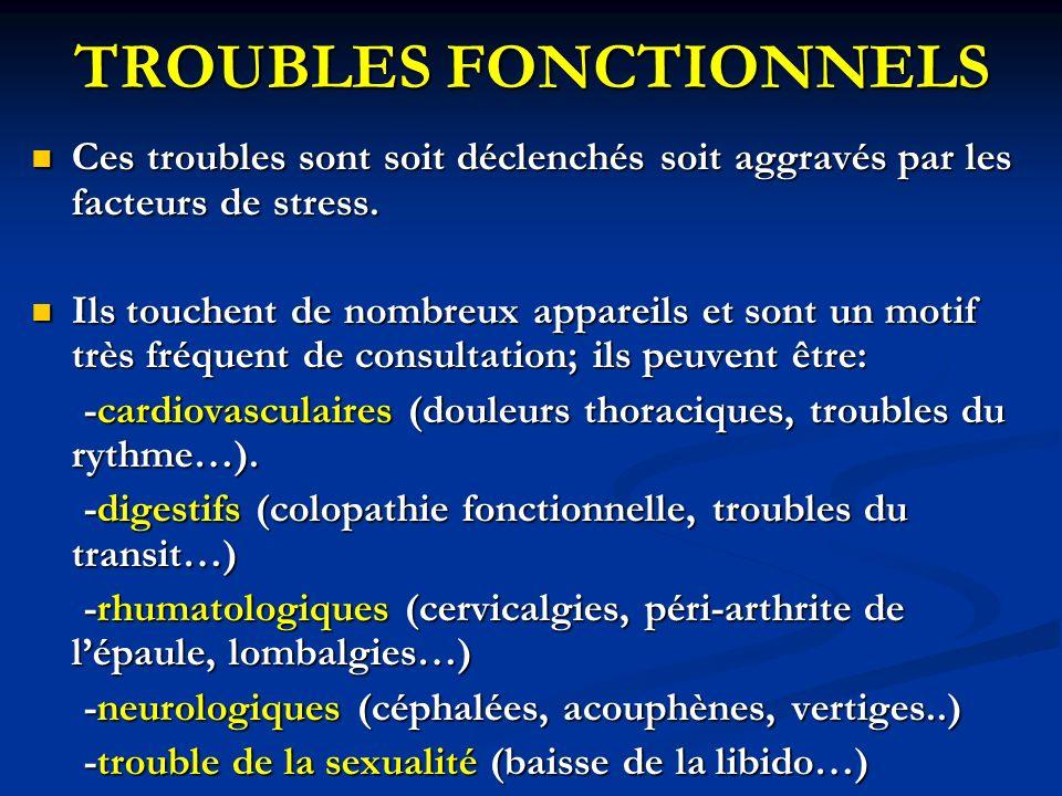 TROUBLES FONCTIONNELS Ces troubles sont soit déclenchés soit aggravés par les facteurs de stress. Ces troubles sont soit déclenchés soit aggravés par