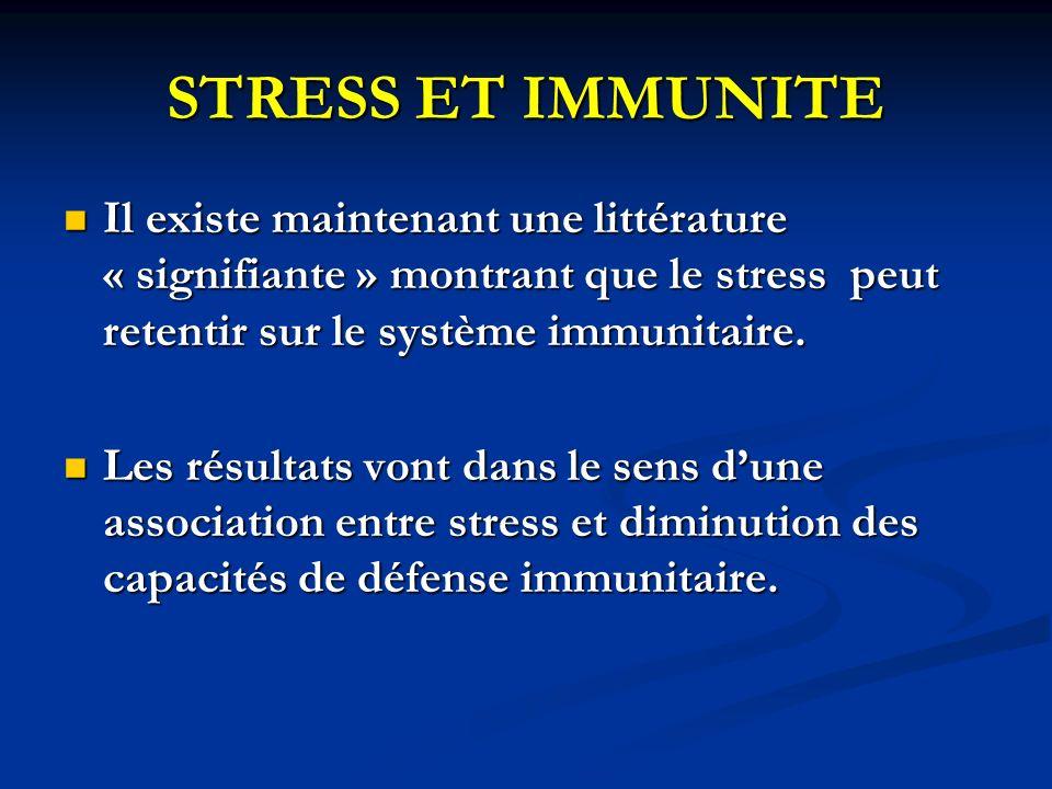 STRESS ET IMMUNITE Il existe maintenant une littérature « signifiante » montrant que le stress peut retentir sur le système immunitaire. Il existe mai
