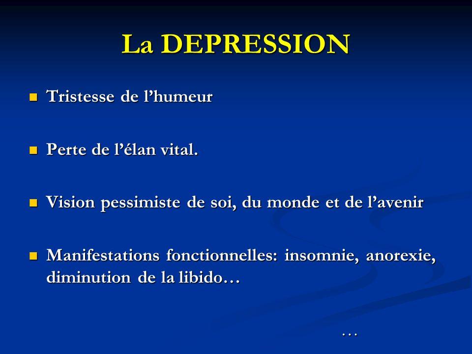 La DEPRESSION Tristesse de lhumeur Tristesse de lhumeur Perte de lélan vital. Perte de lélan vital. Vision pessimiste de soi, du monde et de lavenir V
