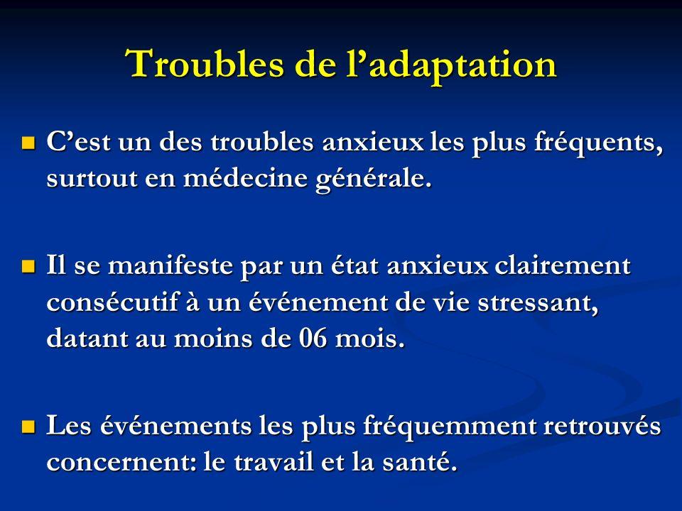 Troubles de ladaptation Cest un des troubles anxieux les plus fréquents, surtout en médecine générale.