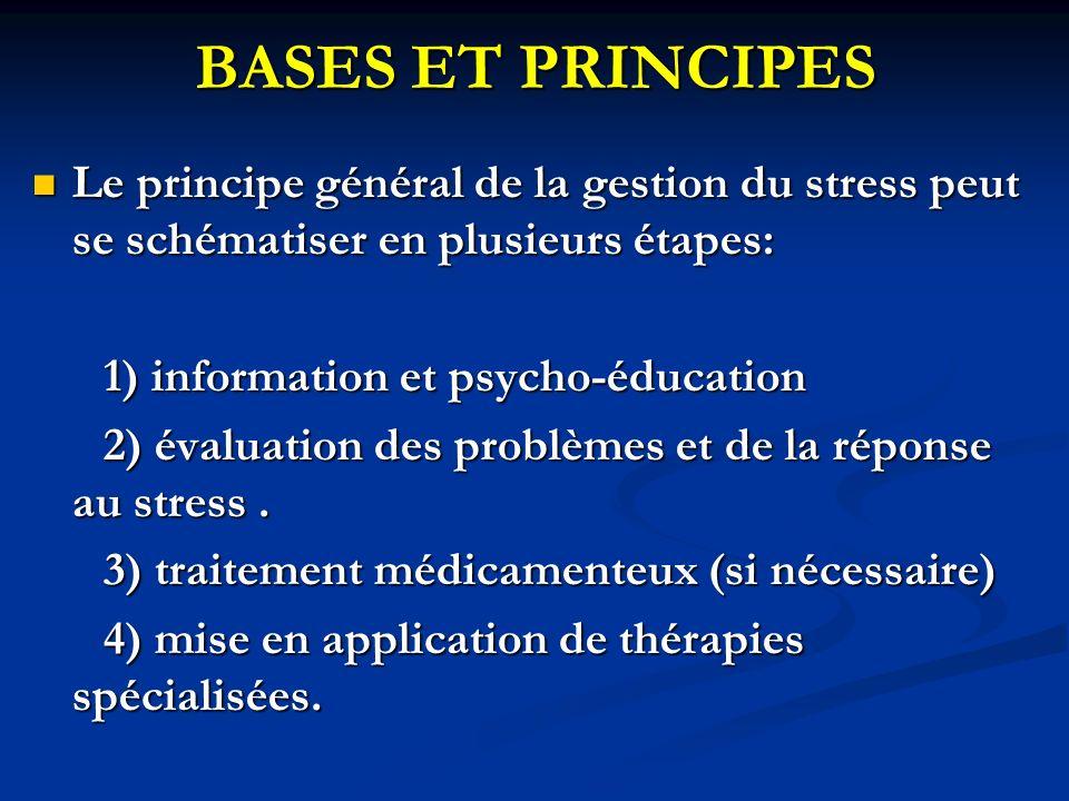 BASES ET PRINCIPES Le principe général de la gestion du stress peut se schématiser en plusieurs étapes: Le principe général de la gestion du stress peut se schématiser en plusieurs étapes: 1) information et psycho-éducation 1) information et psycho-éducation 2) évaluation des problèmes et de la réponse au stress.