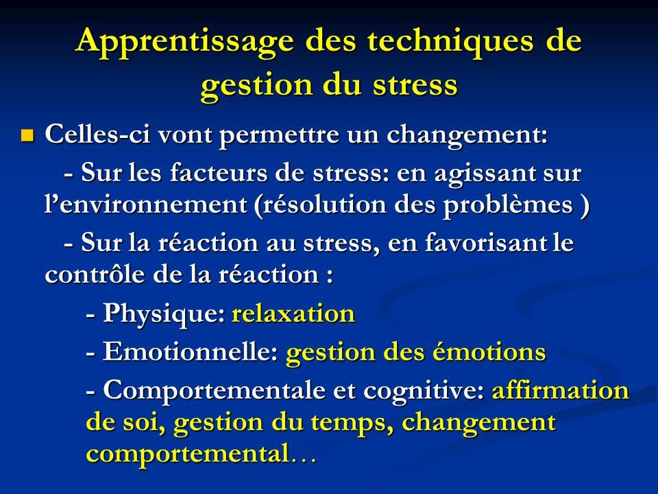Apprentissage des techniques de gestion du stress Celles-ci vont permettre un changement: Celles-ci vont permettre un changement: - Sur les facteurs d
