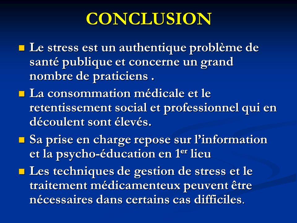 CONCLUSION Le stress est un authentique problème de santé publique et concerne un grand nombre de praticiens. Le stress est un authentique problème de