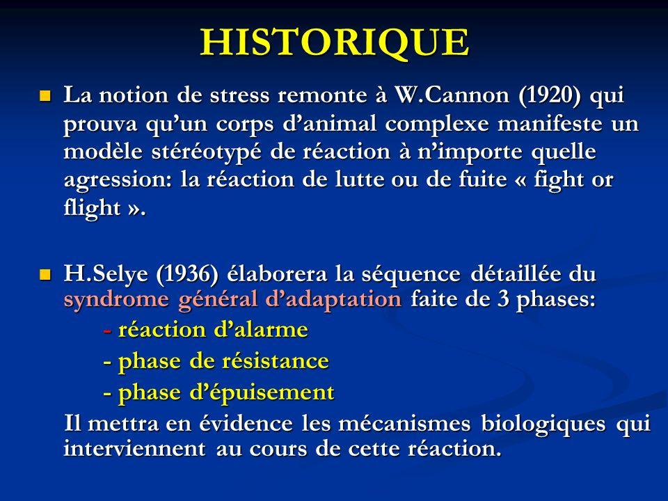 HISTORIQUE La notion de stress remonte à W.Cannon (1920) qui prouva quun corps danimal complexe manifeste un modèle stéréotypé de réaction à nimporte quelle agression: la réaction de lutte ou de fuite « fight or flight ».