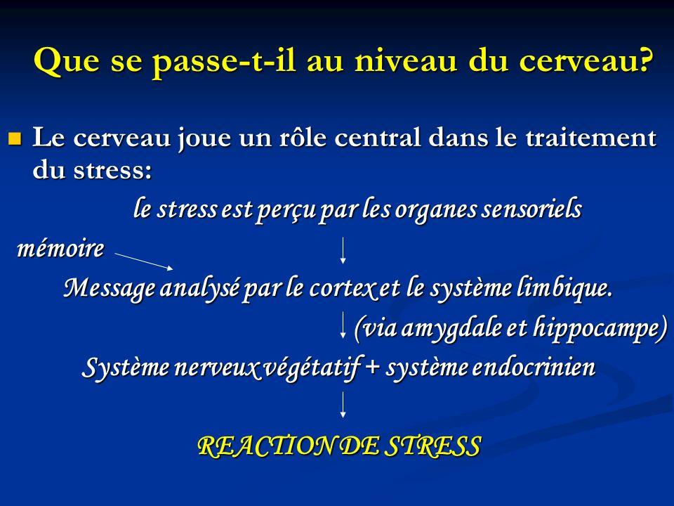 Apprentissage des techniques de gestion du stress Celles-ci vont permettre un changement: Celles-ci vont permettre un changement: - Sur les facteurs de stress: en agissant sur lenvironnement (résolution des problèmes ) - Sur les facteurs de stress: en agissant sur lenvironnement (résolution des problèmes ) - Sur la réaction au stress, en favorisant le contrôle de la réaction : - Sur la réaction au stress, en favorisant le contrôle de la réaction : - Physique: relaxation - Emotionnelle: gestion des émotions - Comportementale et cognitive: affirmation de soi, gestion du temps, changement comportemental…