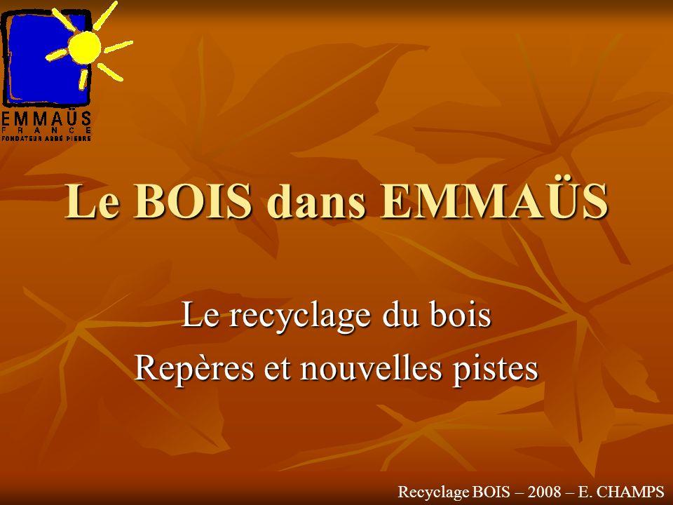 Le BOIS dans EMMAÜS Le recyclage du bois Repères et nouvelles pistes Recyclage BOIS – 2008 – E. CHAMPS