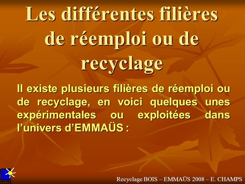 Recyclage BOIS – EMMAÜS 2008 – E. CHAMPS Les différentes filières de réemploi ou de recyclage Il existe plusieurs filières de réemploi ou de recyclage