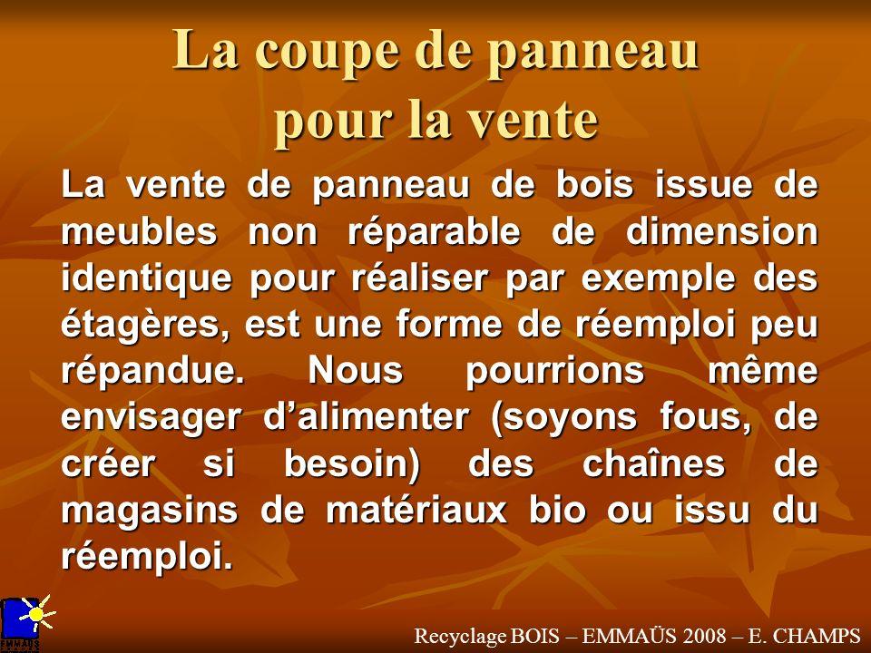 Recyclage BOIS – EMMAÜS 2008 – E. CHAMPS La coupe de panneau pour la vente La vente de panneau de bois issue de meubles non réparable de dimension ide