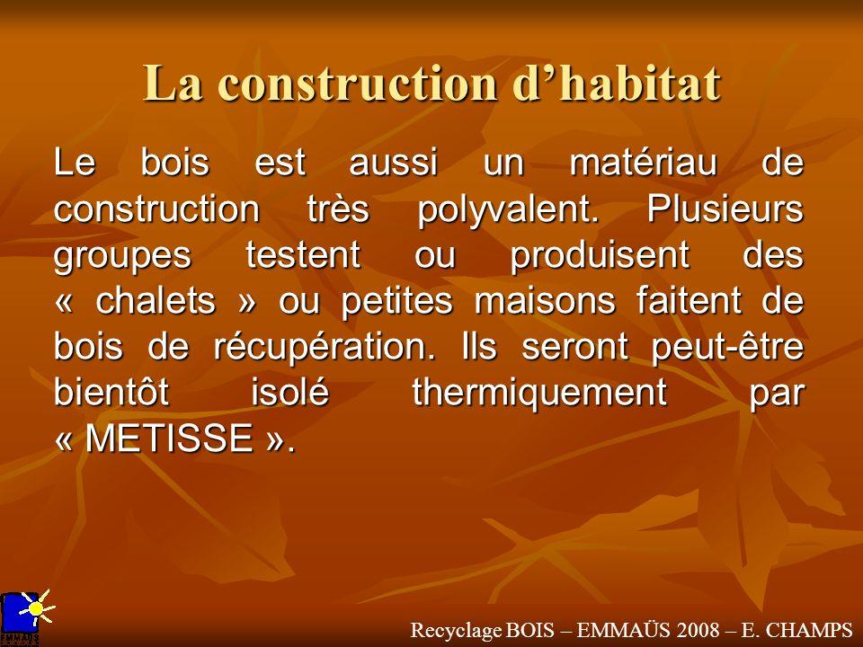 Recyclage BOIS – EMMAÜS 2008 – E. CHAMPS La construction dhabitat Le bois est aussi un matériau de construction très polyvalent. Plusieurs groupes tes